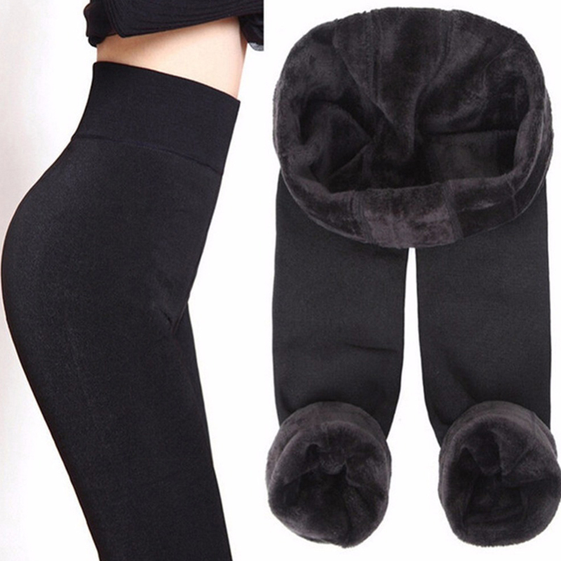 SALSPOR S-3XL Solid Color Women Winter Velet Trousers Female High Elastic Warm Nine Pants Ladies Sexy High Waist Slim Leggins