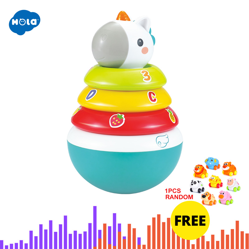 HOLA 3136 Baby Rattles Mobile Doll Bell Blink Eyes Tumbler Roly-poly Silicon Teether Toy Fun For Newborns Gift