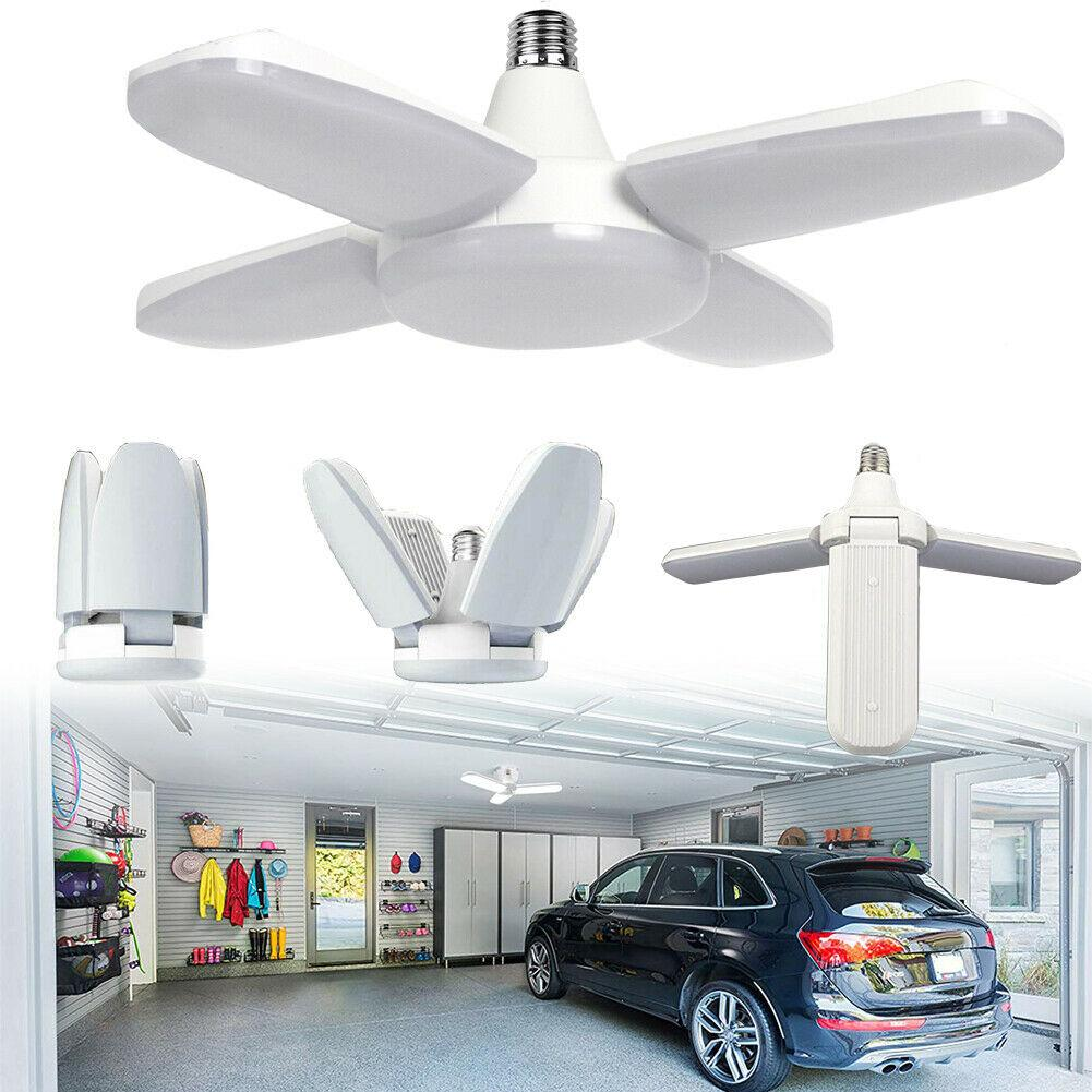 60W Deformable Four-Fold High Bay Lamp Indoor LED Garage Ceiling Work Light Bulb