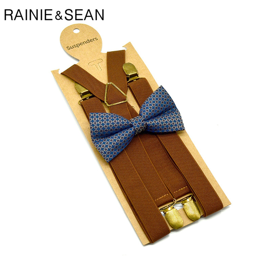 RAINIE SEAN Audlt Bowtie Suspender Men Set 4 Clips Brown Suspenders Women Trouser Belt Unisex Braces Straps Mens Suspenders Belt