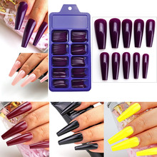 Fake Nails Coffin Size-Press Ballerina French Colorful Extra-Long 100pcs Acrylic Finger