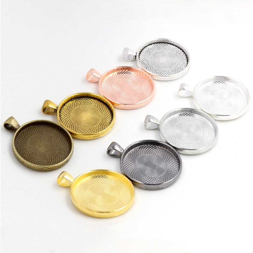 5pcs/Lot 30mm Inner Size 8 Colors Plated Classic Style Cabochon Base Setting Charms Pendant