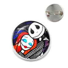 O pesadelo antes do natal padrão 20mm broches de cabochão de vidro jack skellington e colar sally pinos presentes do dia das bruxas(China)