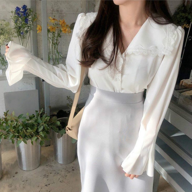 Ezgaga Lace Patchwork Elegant Shirts Turn-Down Collar Long Flare Sleeve Chic French Style White Shirts Office Lady Tops Fashion 3