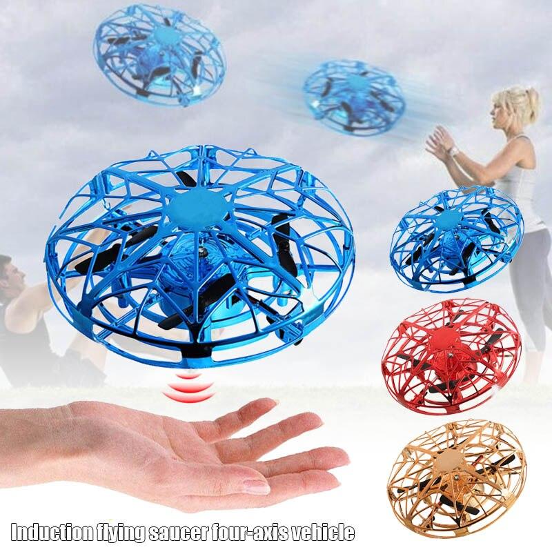 Mini Drone Quadcopter Induction Levitation UFO LED Light USB Charging Kids Gift FJ88