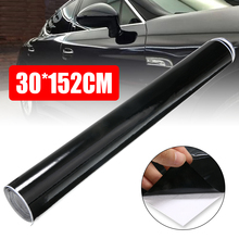 1pc 30x152CM Bubble-free Car Foil Gloosy Black Flexible Auto Wrapping Stickers Easy Removal