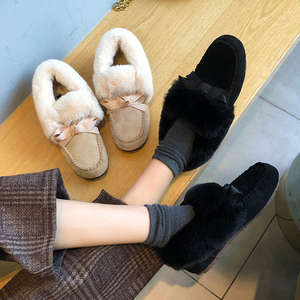 Image 5 - 2019 Winter Faux Fur Shoes Woman Loafers Warm Fluffy Plush Flock Bowtie Boat Ballet Flats Soft Roll Egg Peas Oxfords Moccasins