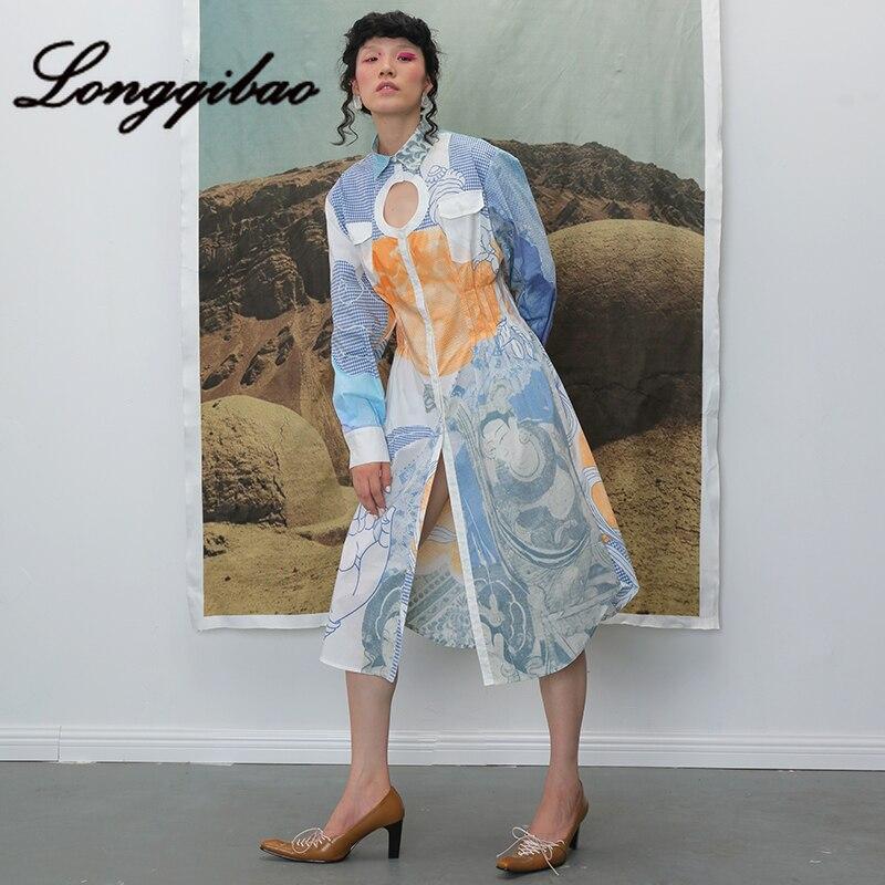 Longqibao frauen Neue Mode Lange ärmeln Gedruckt Geometrische Runde Hohl Plissee Taille Kleid frauen Kleidung Weihnachten Kleid - 2