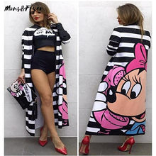 Spring Autumn Casual Women Long Cardigan Jacket European and American Plus Long Fashion Striped Print Cute Mouse Casual Jackets(China)