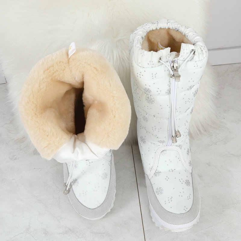 Kar botları kadın 2020 kış çizmeler yüksek peluş sıcak ayakkabı artı boyutu 35 büyük 42 kolay aşınma kız beyaz zip ayakkabı kadın sıcak botlar
