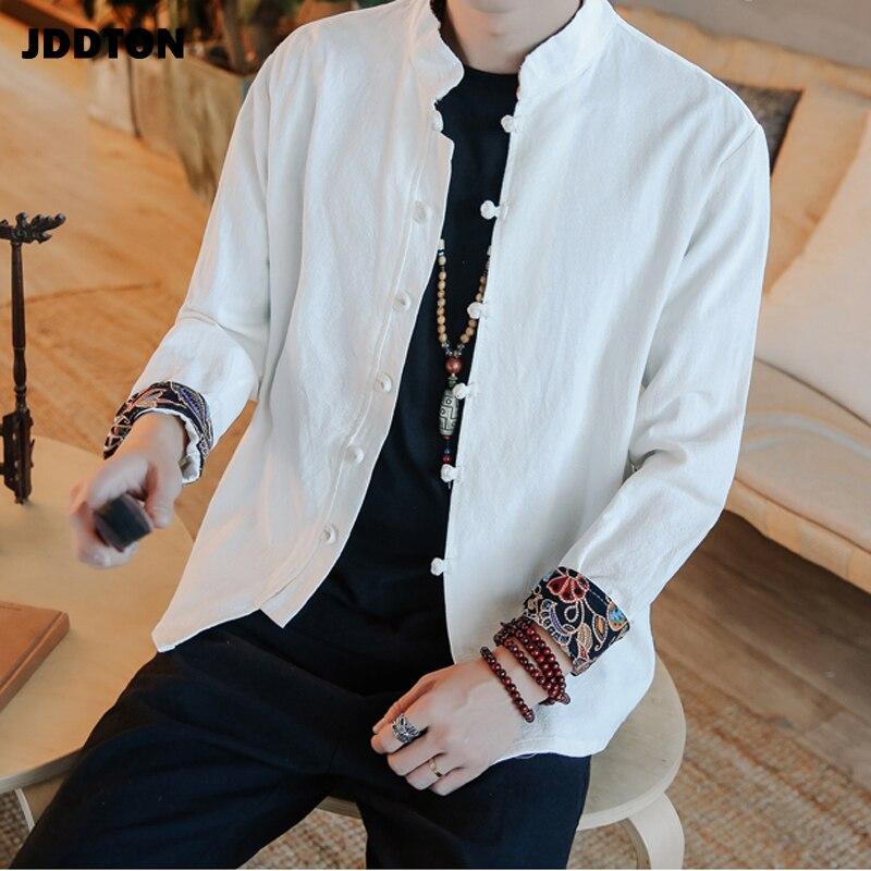 JDDTON New Mens Chinese Style Cotton Linen Casual Mandarin Collar Man Long Sleeve Loose Shirts Male Retro Shirt Streetwear JE085