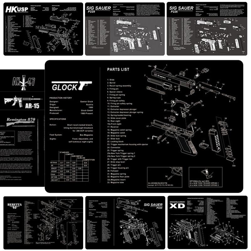 Коврик для чистки пистолета Glock AK47 AR 15 Ремингтон 870 HK USP SIG SAUER P226 BERETTA 92, Настольный коврик для страйкбола, охоты, аксессуары, оборудование