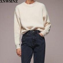 Осенне зимний вязаный свитер xnwmnz za с круглым вырезом и длинными