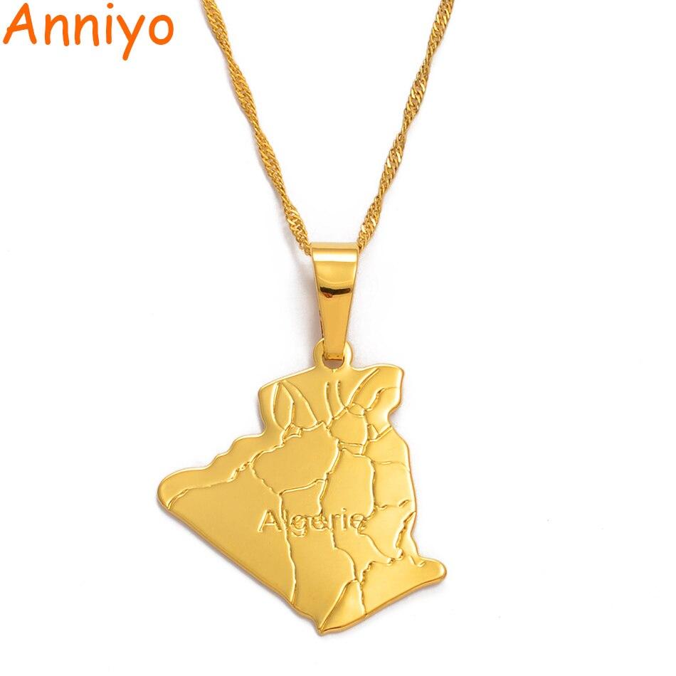 Ожерелье с подвеской в виде карты Алжира от Anniyo, модные ювелирные изделия золотого цвета, ожерелья с картой Алжира #049302