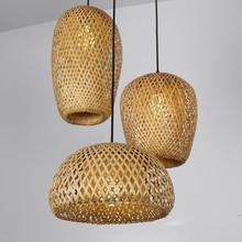 Китайские ручные вязаные бамбуковые художественные подвесные светильники ресторан Caf Лофт подвесной светильник домашний декор бамбуковые светодиодные светильники