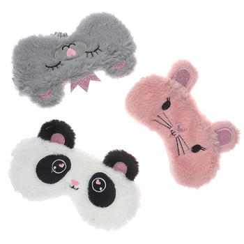 Panda Eye Mask Plush Animal Mouse Bear Deer Eye Cover Cute Plush Eye Mask Girl Toy Suitable For Travel Home Party цена 2017