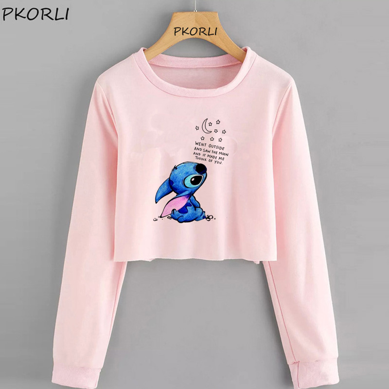Sudaderas Mujer Casual Stitch Crop Hoodie Cartoon Print Tracksuit Women Hoodies Pullovers O-neck Sweatshirt Moleton Feminino