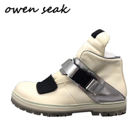 19ss Owen Seak Men Shoes Genuine Leather High TOP Ankle Riding Equestrian Boots Luxury Trainers Boots Casual Flats Shoes