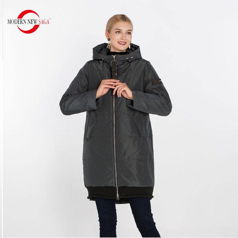 MODERN NEW SAGA 2020 Women Coat Spring Woman Jacket Hooded Autumn Thin Cotton Padded Coat Fashion Parkas Long Jacket Outerwear