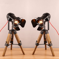 Retro tripod Table lights Spotlight Iron Woodend base nightstand for bedroom bedside Art Deco Loft Industrial Table lamp Fixture