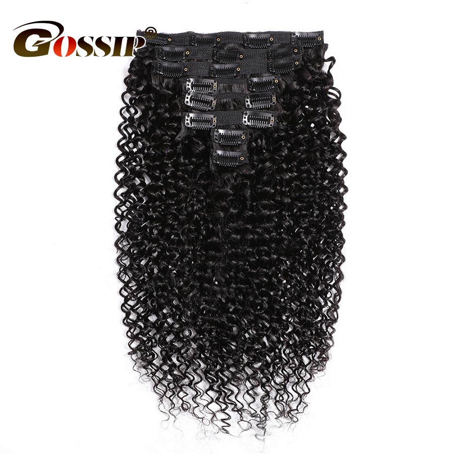 28 Inches Kinky Curly Bundles Brazilian Hair Bundles Clip In Human Hair Extensions 8 Pieces/Set 120g Gossip Remy Hair Bundles