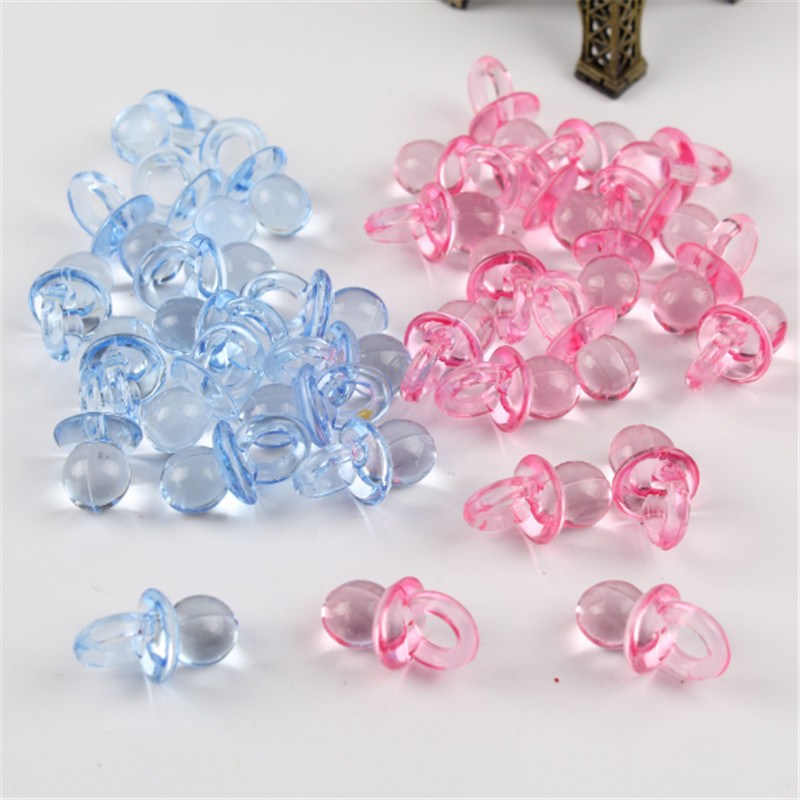 Blue / Pink Transparent Acrylic Mini Pacifier Baby Shower Cake Decoration Birthday Gift DIY Mini Pacifier Party Decoration -C