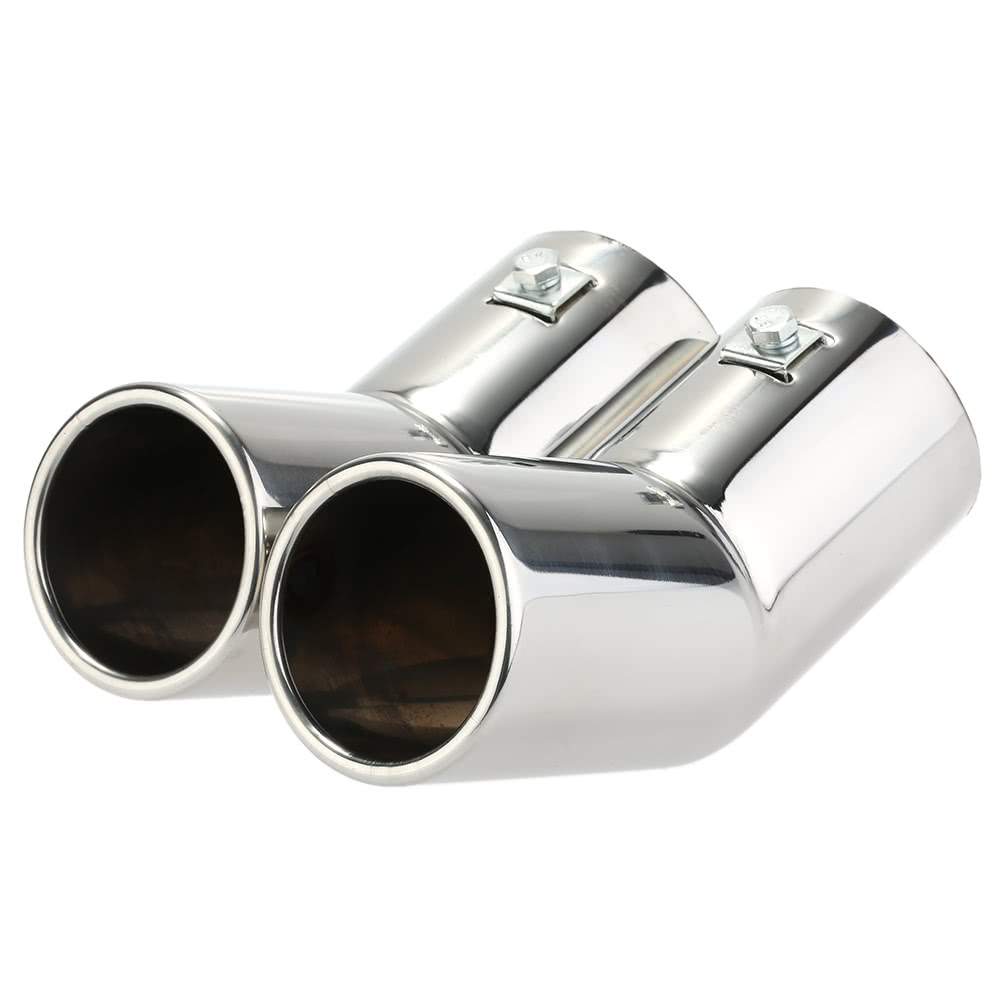 Dual Pipes Stainless Steel <font><b>Exhaust</b></font> Tail Pipes Muffler Tips for <font><b>VW</b></font> <font><b>Golf</b></font> <font><b>4</b></font> Bora Jetta image