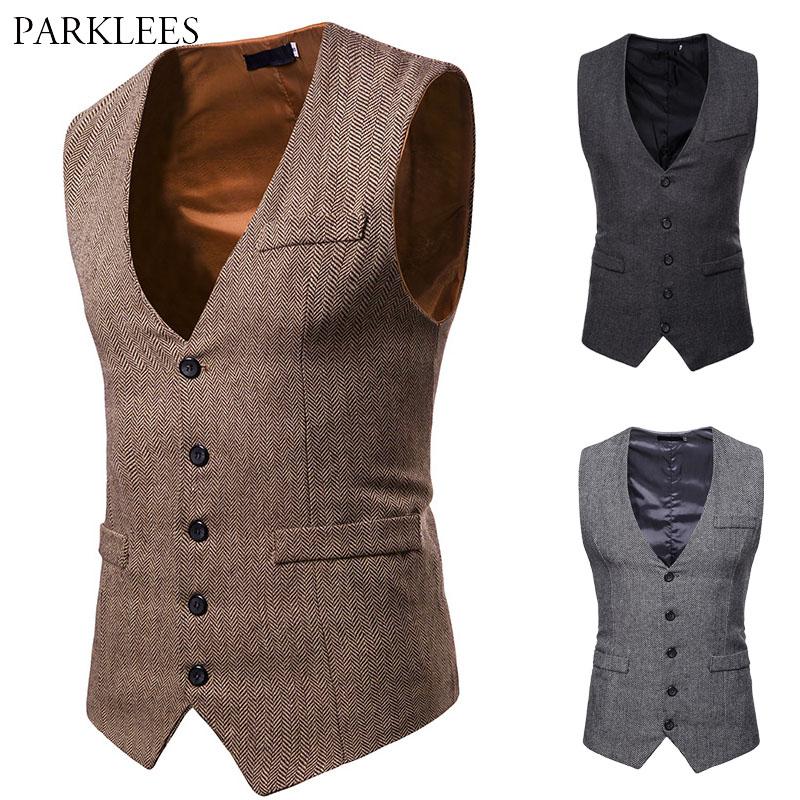 Herringbone Tweed Mens Waistcoat Formal Business Casual Slim Fit Vests for Men Retro British Style Gentleman Men Suit Vest Gilet