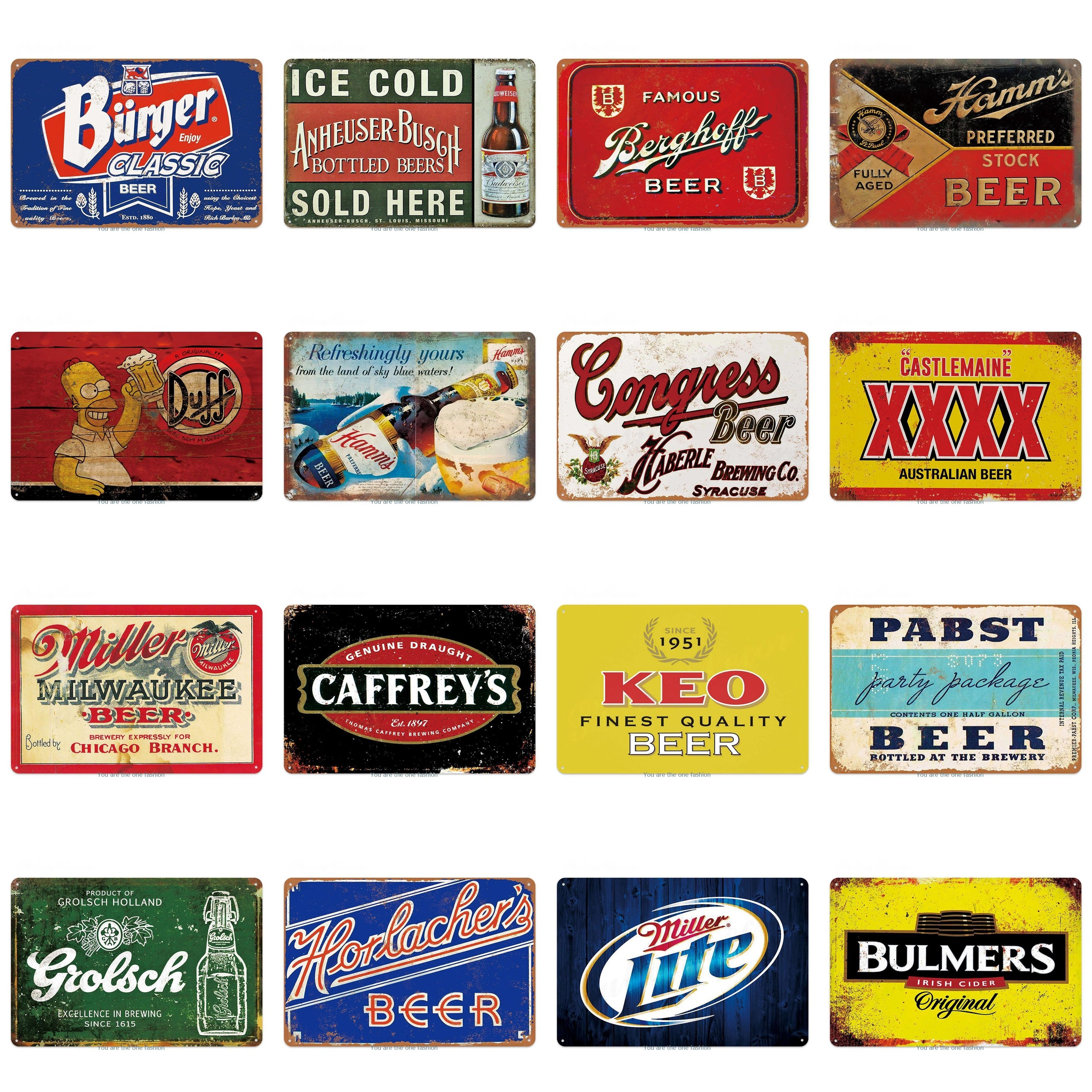 Famous Beer Bar Metal Tin Signs Wall Stickers Ice Cold Sold Here Art Iron Painting Pub Tavern Plaque Club Bar Decor Art Poster image
