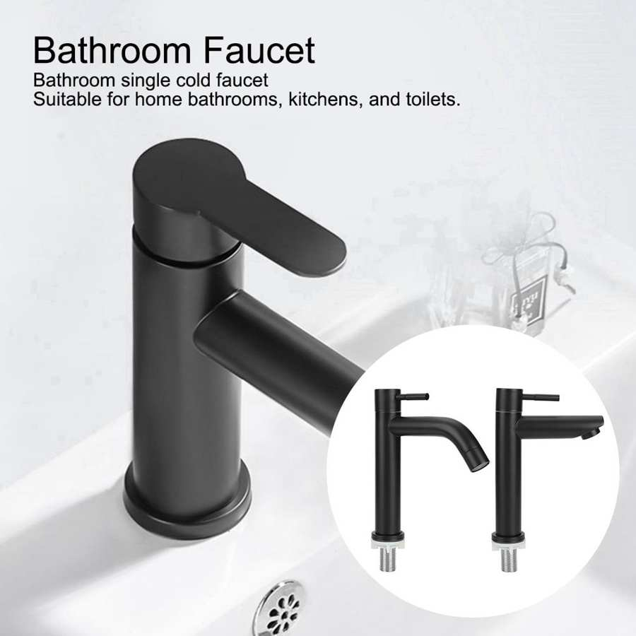 H2f61ebb6666a4c088c304d3cccd93508e G1/2in Black Kitchen Sink Faucet Stainless Steel Washbasin Faucets Single Cold Water Tap for Kitchen Bathroom basin water taps