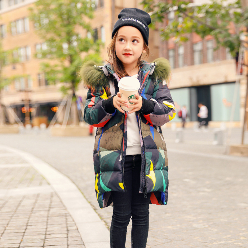Children 39 s fashion down jacket Girls 39 long padded down coat Boys 39 new warm winter coat with large leather fur collar duck down in Down amp Parkas from Mother amp Kids