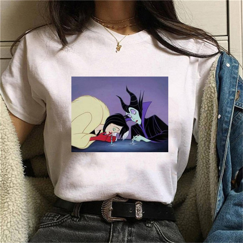 Maycaur Disney Funny Printed Women T Shirts Summer Fashion Harajuku Short Sleeve Ladies Shirts Vintage Cute Cartoon Tops Tees