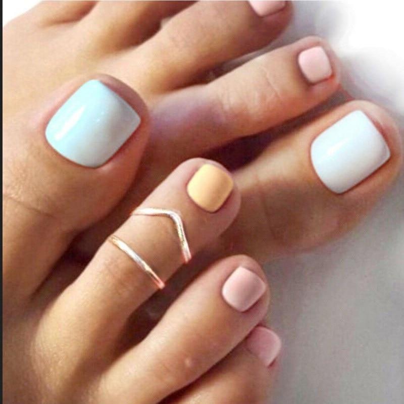 Novo na moda simples letra em forma de v pé anel simples moda completa artesanal anel ajustável toe anel