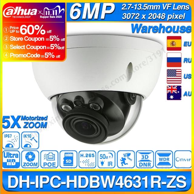 Dahua IPC HDBW4631R ZS 6MP IP Camera CCTV POE Motorized Focus Zoom 50M IR SD Card Slot Security Network Camera H.265 IK10