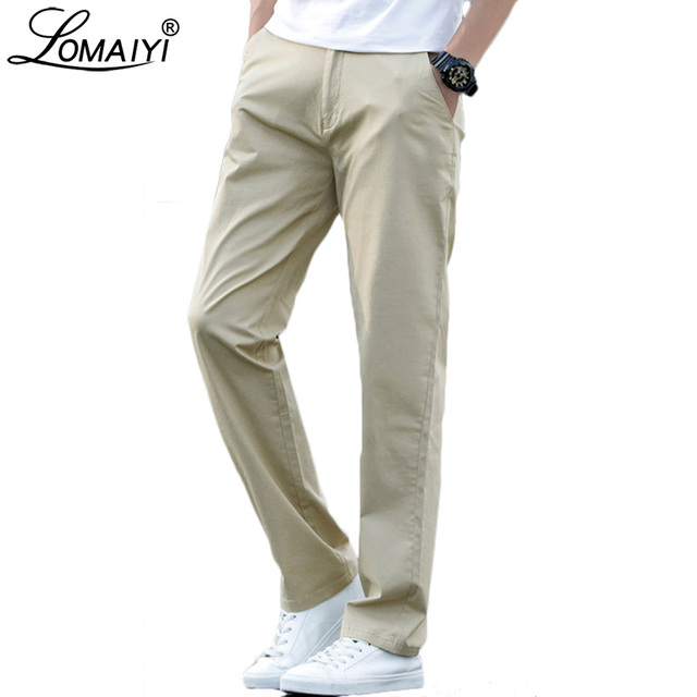 LOMAIYI Plus Size Men Pants Casual Spring/Summer Stretch Mens Classic Trousers Male 2020 Business Black/Khaki Pants Man BM221