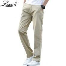 LOMAIYI Plus Size męskie spodnie casual wiosenna/letnia Stretch męskie klasyczne spodnie męskie 2020 biznes czarny/spodnie khaki Man BM221