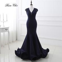 Navy Blue Luxury Mermaid Formal Dresses Blackless Sexy Evening Dress 2019