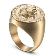 Jing Jiang мужское кольцо подвеска в стиле панк модное ювелирное изделие Золотое круглое кольцо из нержавеющей стали с кубическим цирконием подарки для мужчин в скандинавском стиле