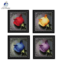 Joy Sunday DMC Red yellow blue purple Rose Cross Stitch Pattern Printed counted Cotton Canvas DIY Embroidery Kit For Home Decor