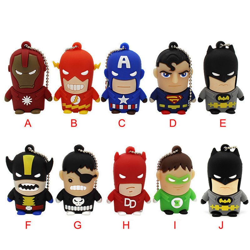 TEXT ME Cartoon  64GB  Cute Superman Hulk Flash Batman USB Flash Drive 4GB 8GB 16GB 32GB Pendrive USB 2.0 Usb Stick