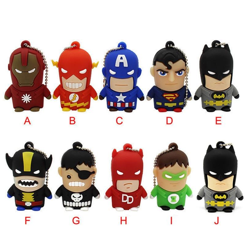 TEXT ME Cartoon  64GB  Cute Superman Hulk Flash Batman USB Flash Drive 4GB 8GB 16GB 32GB Pendrive USB 2.0 Usb Stick