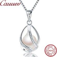 Cauuev Настоящее натуральное пресноводное жемчужное ювелирное изделие горячая Распродажа 925 пробы Серебряное ожерелье с подвеской подарок для женщин