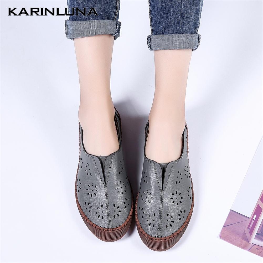 KARINLUNA/Новые брендовые туфли лодочки из натуральной кожи на полой подошве, большие размеры 45 Повседневная Летняя женская обувь без шнуровки с круглым носком женская обувь на плоской подошве Обувь без каблука      АлиЭкспресс