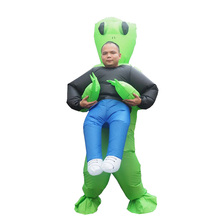 New Inflatable Costume Green Alien Adult Kids Funny Blow Up Suit Party Fancy Dress unisex costume Halloween Costume