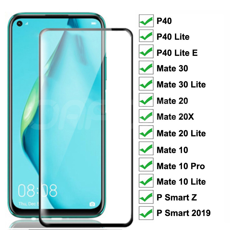 9D Tempered Glass For Huawei P40 Lite E Screen Protector Huawei Mate <font><b>30</b></font> 20 <font><b>10</b></font> Lite P Smart Z 2019 Safety Protective Glass Film image