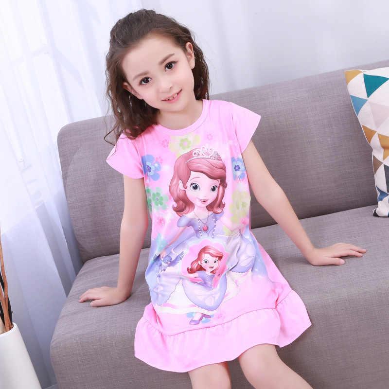 アンナエルザドレス女の子寝間着服夏の漫画のネグリジェ子供服半袖パジャマドレス子供ホームウェア