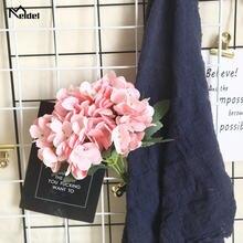 Искусственная Гортензия 5 веток букет розово белых шелковых