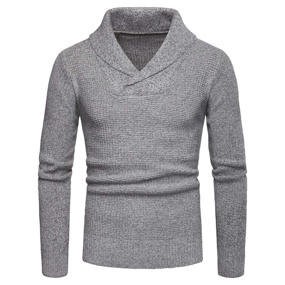 Mens Sweaters Shawl Collar Slim Fit Pullover Fall Winter Casual Knit Ribbed Coat Long Sleeve Outwear Soft Cotton Sweater