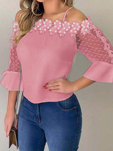 2019 Autumn Women Elegant Casual Shirt Female Fashion Basic Solid Top Lace Applique Cold Shoulder Blouse