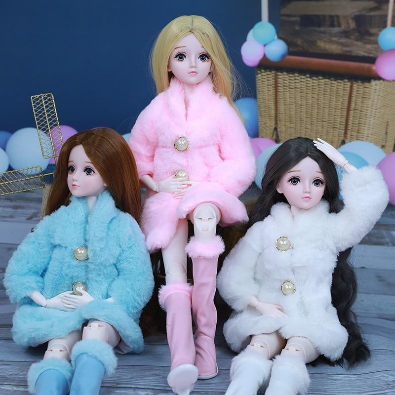 Ropa para muñecas de 60cm, abrigo de piel suave de manga larga, zapatos de invierno, abrigo de piel Simulación de moda, juguetes para niños, ropa, zapatos|Muñecas| - AliExpress